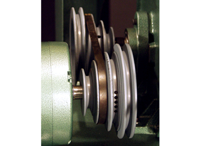Step Pulleys Step pulleys combined with optional size drive wheels  allows 16 different speeds ranging from 677 S.F.P.M. to 6320 S.F.P.M.