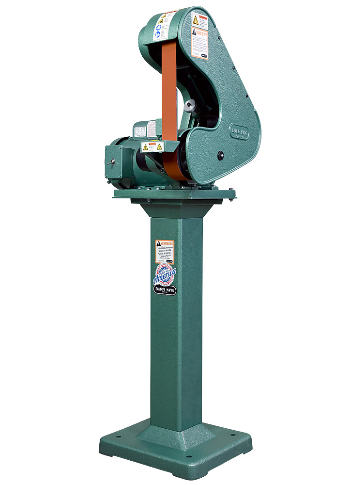 40100 Model 482 belt grinder / belt sander shown with optional 01 pedestal.   Fixed and adjustable height pedestals are available for all Burr King grinders and polishers.