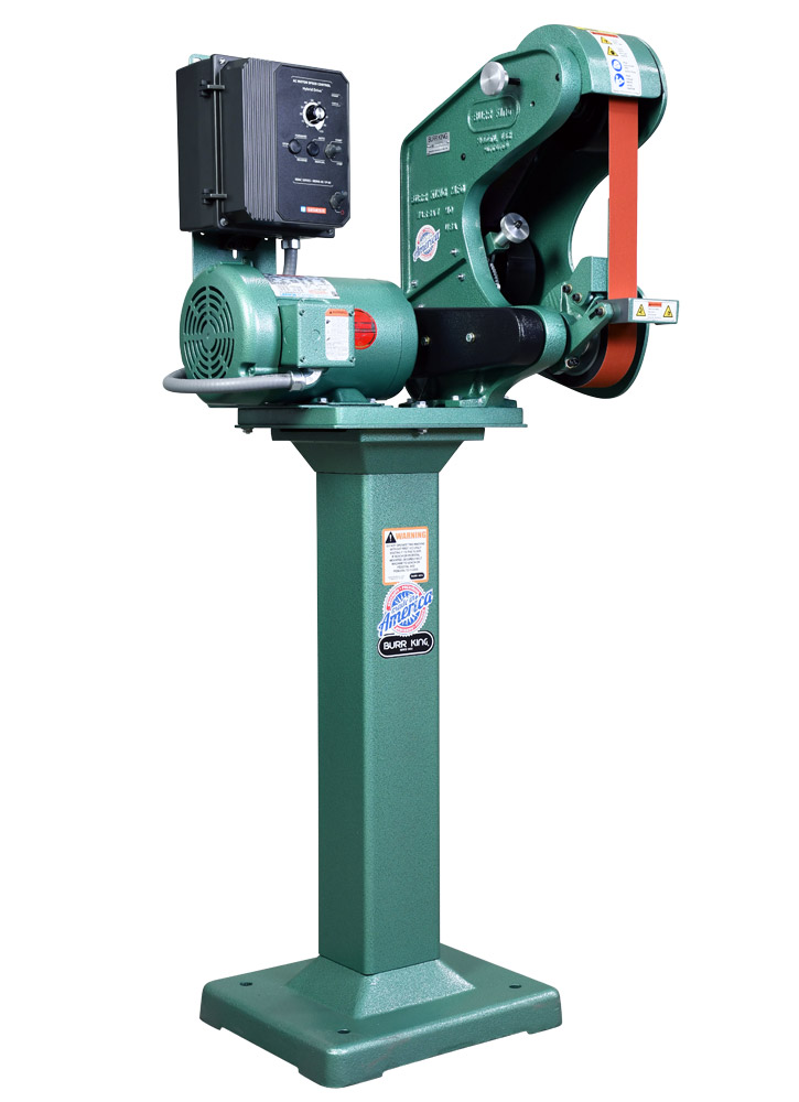 42203 shown with supplied workrest and optional 01 pedestal.  Variable speed Model 482 2` x 48` three wheel belt grinder / sander.  1.5 HP/440volt/three phase.