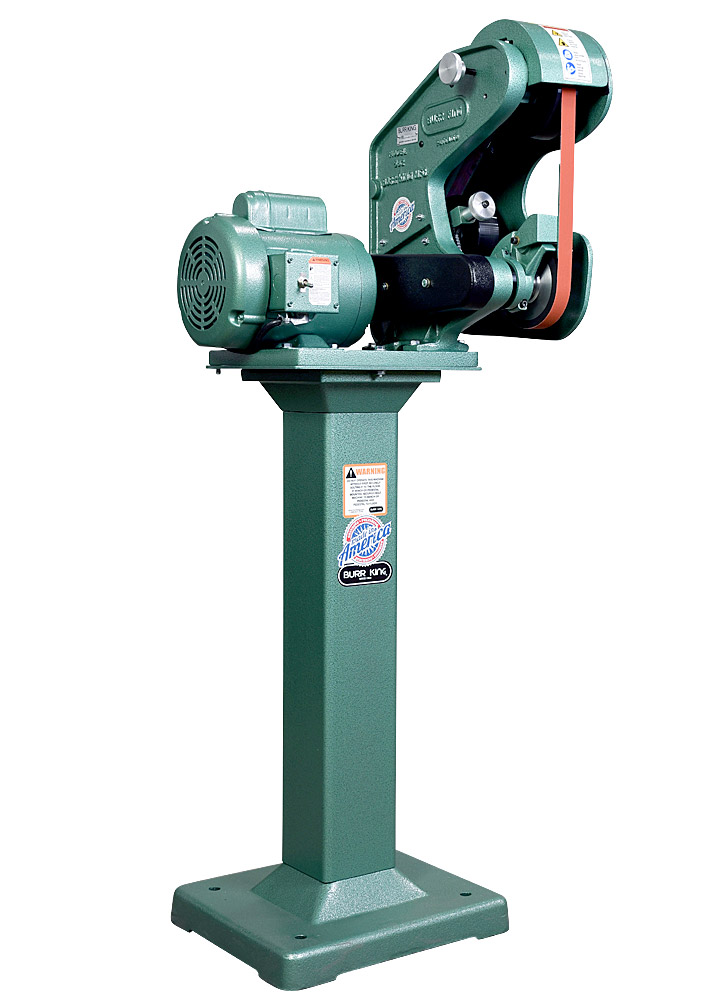 56100 Model 562 Belt Grinder / Sander shown with optional 01 pedestal.  Fixed and adjustable height pedestals are available for all Burr King grinders and polishers.
