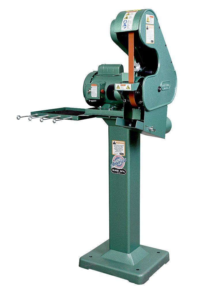 56200 Model 562 Belt Grinder / Sander shown with optional 01 pedestal, 760T-2 Tool Tray and DS5 Dust Scoop.