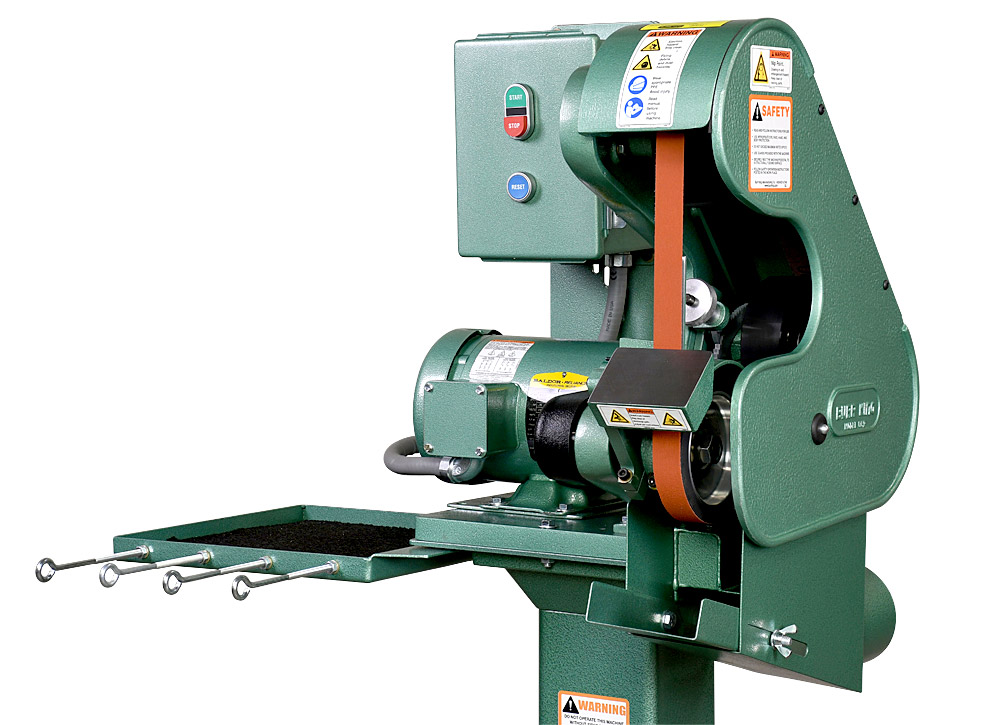 56303 Model 562 Belt Grinder / Sander shown with optional 01 pedestal, 760T-2 Tool Tray and DS5 Dust Scoop.