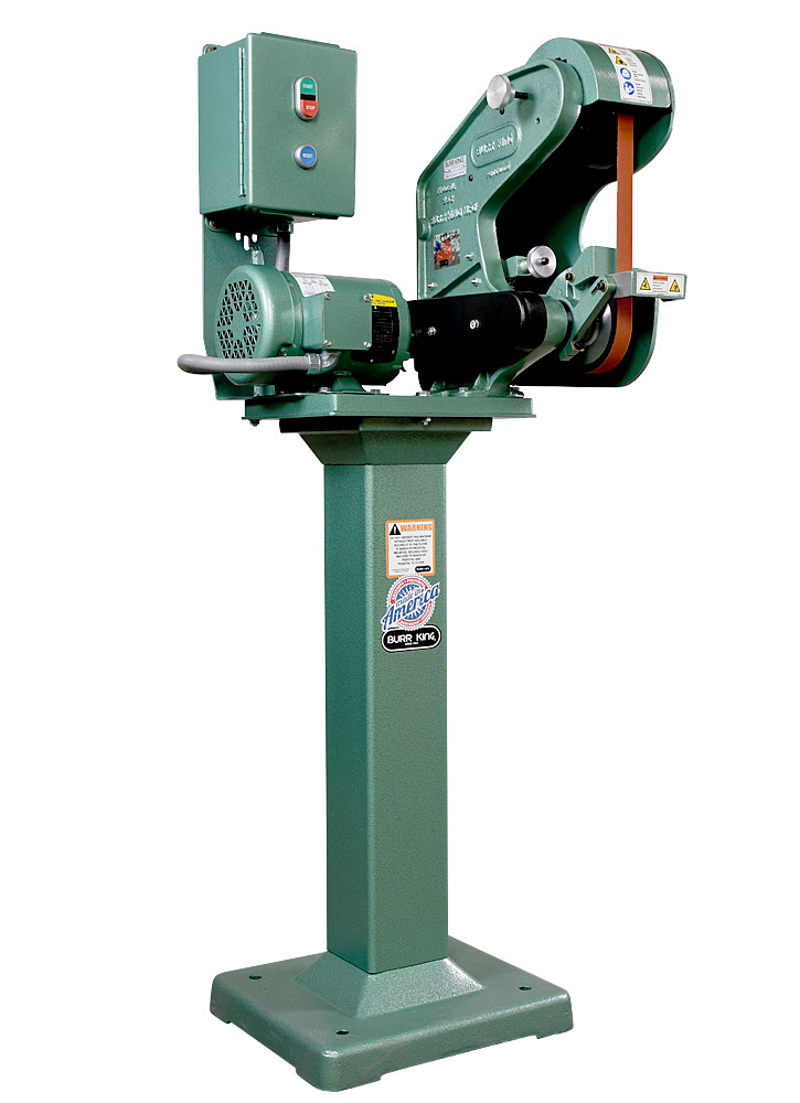 56303 Model 562 Belt Grinder / Sander shown with optional 01 pedestal.  Fixed and adjustable height pedestals are available for all Burr King grinders and polishers.