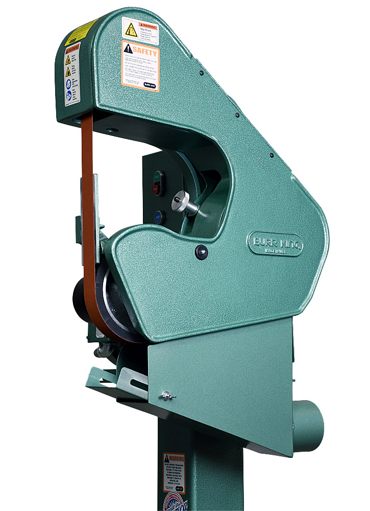 70503 shown optional DS7 dust scoop. Model 760 1.5` x 60` three wheel belt grinder / sander.  2 HP/220 volt/three phase.