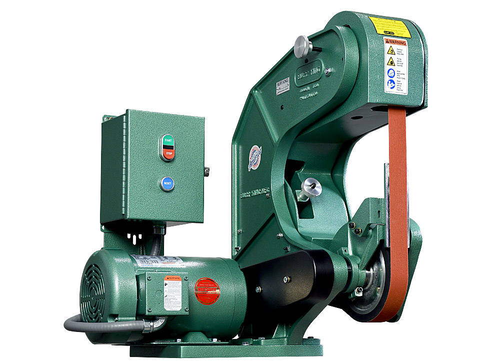 70503 shown without supplied workrest. Model 760 1.5` x 60` three wheel belt grinder / sander.  2 HP/220 volt/three phase.