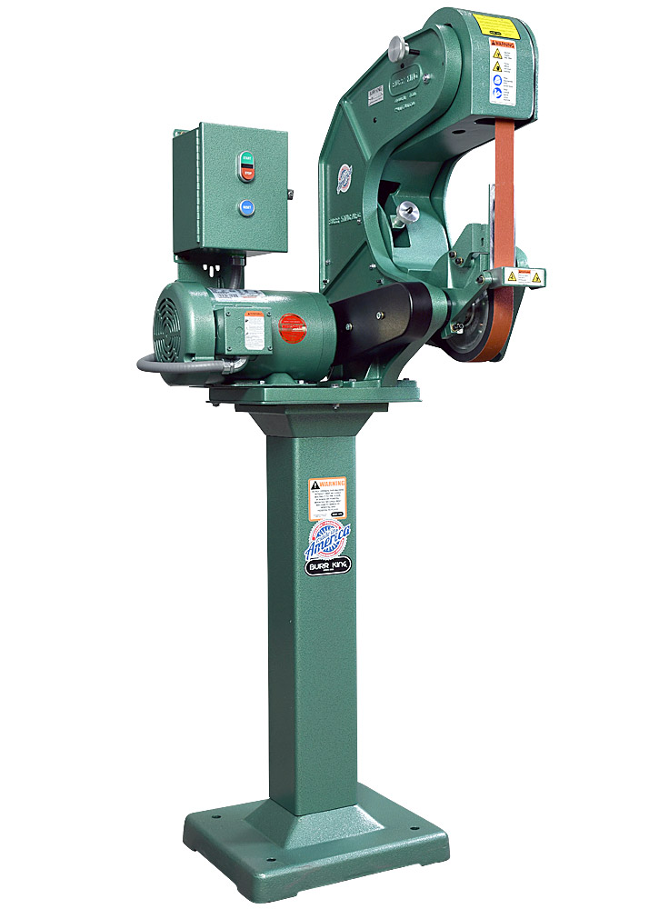 70503 shown with supplied workrest, and optional 01 pedestal. Model 760 1.5 x 60` three wheel belt grinder / sander.  2 HP/220 volt/three phase.