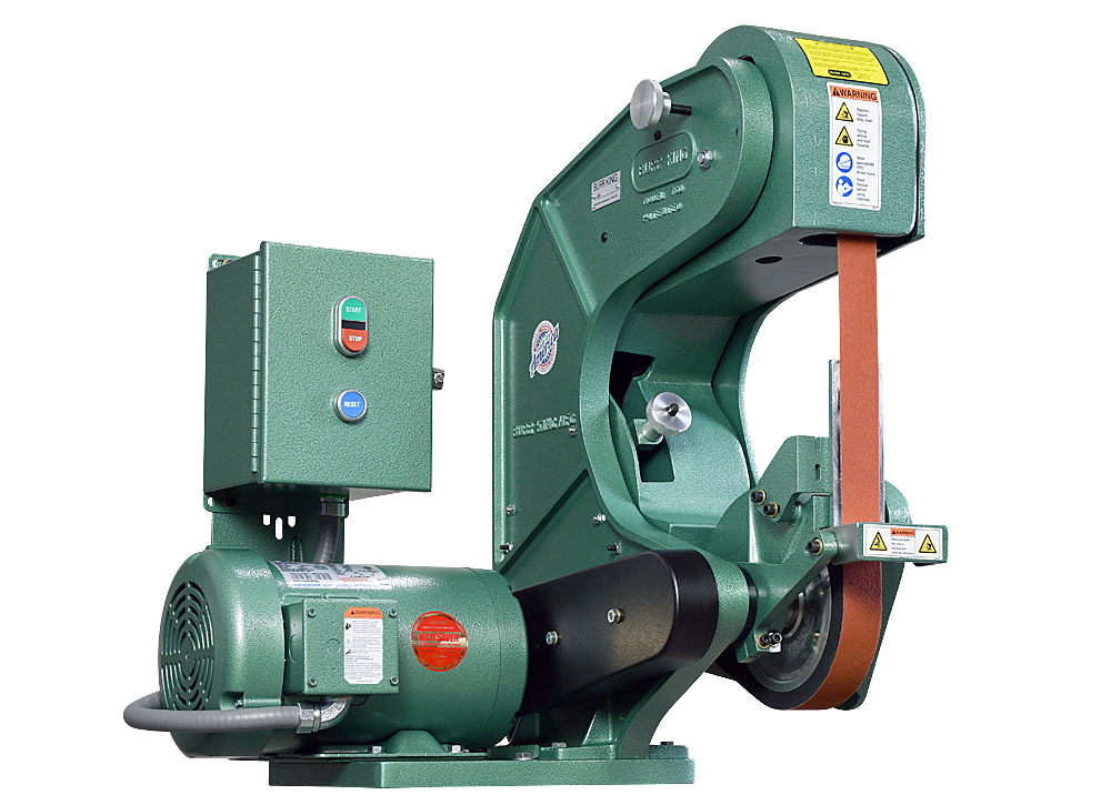70503 shown with supplied workrest. Model 760 1.5` x 60` three wheel belt grinder / sander.  2 HP/220 volt/three phase.