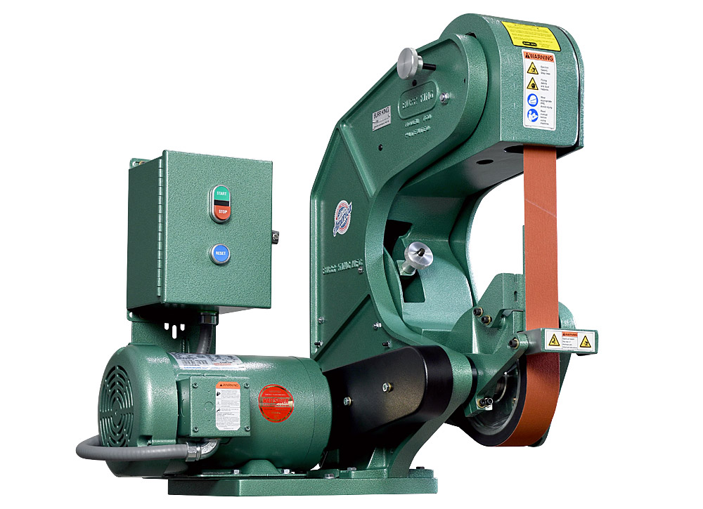 75503 shown with supplied workrest. Model 760 2` x 60` three wheel belt grinder / sander.  2 HP/220 volt/three phase.