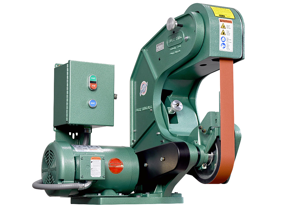75603 shown without supplied workrest. Model 760 2` x 60` three wheel belt grinder / sander.  2 HP/440 volt/three phase.