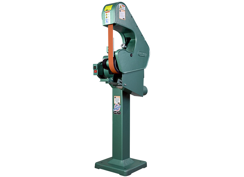 76100 -760 belt grinder / sander shown with optional DS7 dust scoop and optional 01 pedestal