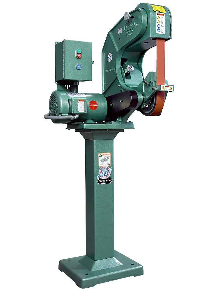 76503 shown with supplied workrest, and optional 01 pedestal. Model 760 2` x 60` three wheel belt grinder / sander.  2 HP/220 volt/three phase.