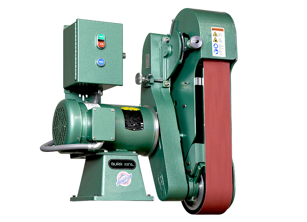 Standing upright allows you gain full access to the backup platen on the 960-400.  The platen runs the full length of the belt. Platen size is 4` x 14` and constructed out of 1/4` steel.