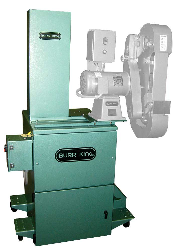 BK75 dust collector with a Burr King 960-400 belt grinder.   Shown with optional full wrap dust scoop