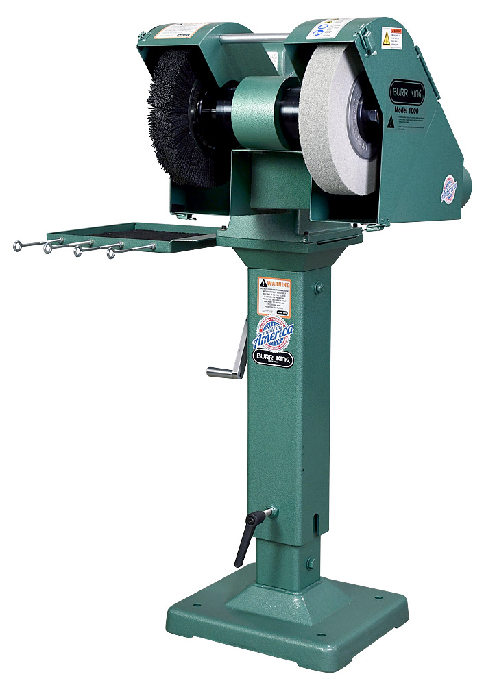 14300 M1000 shown with optional Nylox brush and Scotchbrite deburring/polishing wheel mounted on optional 02-10 adjustable pedestal and 760T-2 tool tray.