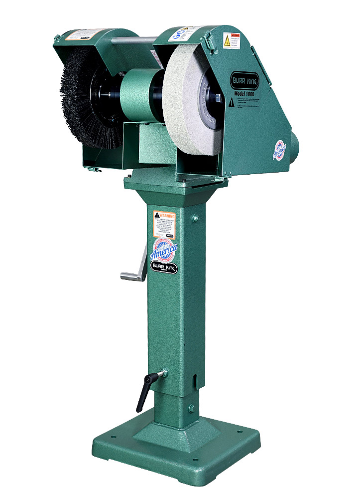 14300 M1000 shown with optional Nylox brush and Scotchbrite deburring/polishing wheel mounted on optional 02-10 adjustable pedestal