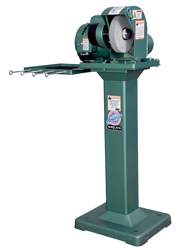 60200 - Model 600 polishing lathe / buffer using optional 1` wide scotchbrite wheel.  Shown on optional 01 fixed height pedestal with 760T-2 tool tray and DS6 dust scoop.