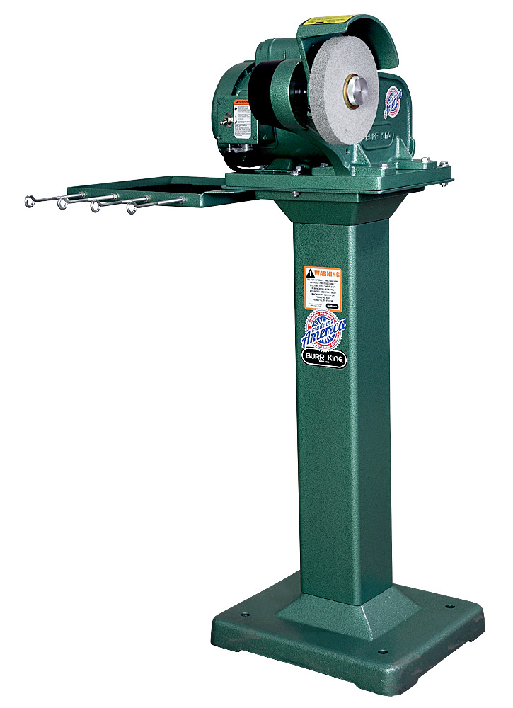 60200 - Model 600 polishing lathe / buffer using optional 1` wide scotchbrite wheel.  Shown on optional 01 fixed height pedestal with 760T-2 tool tray.