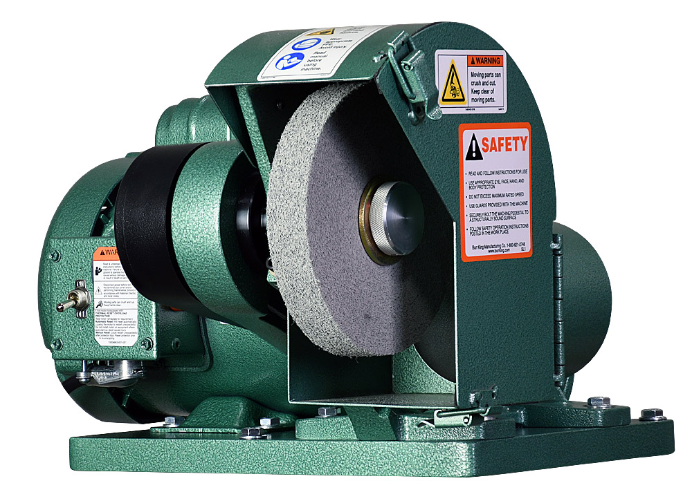 60200 - Model 600 polishing lathe / buffer shown with optional 1` wide Scotchbrite deburring wheel and DS6 dust scoop.
