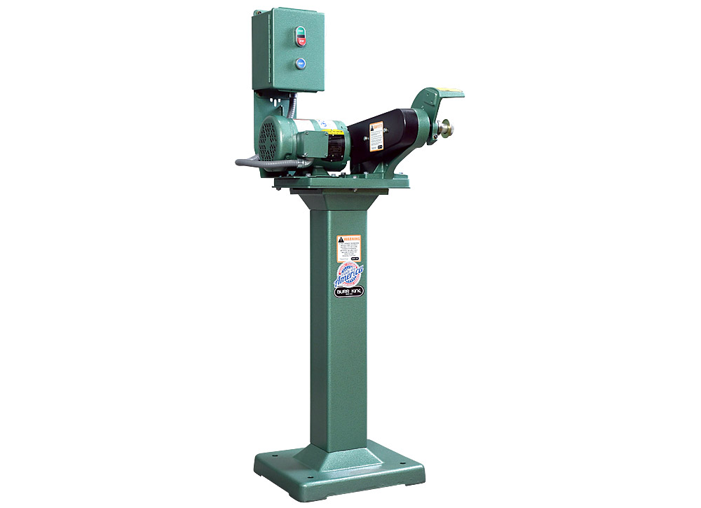 60403 model 600 polishing lathe / buffer / deburring machine, with optional 01 pedestal, no wheel