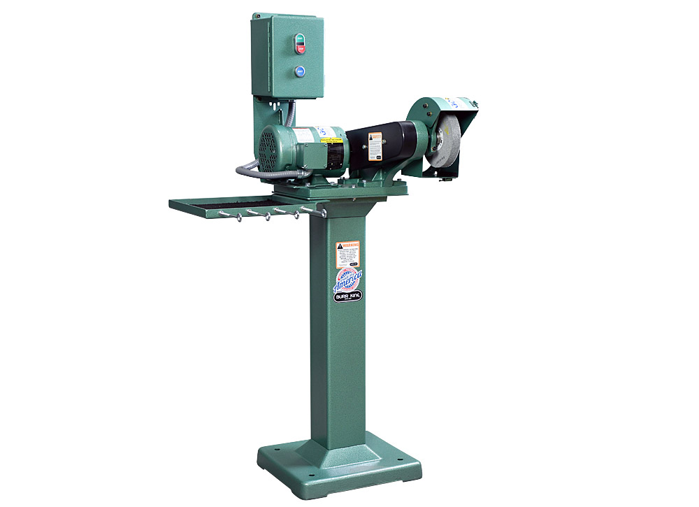 60403 model 600 polishing lathe / buffer / deburring machine, with optional wheel, 01 pedestal, ds6 dust scoop and 760t-2 tool tray