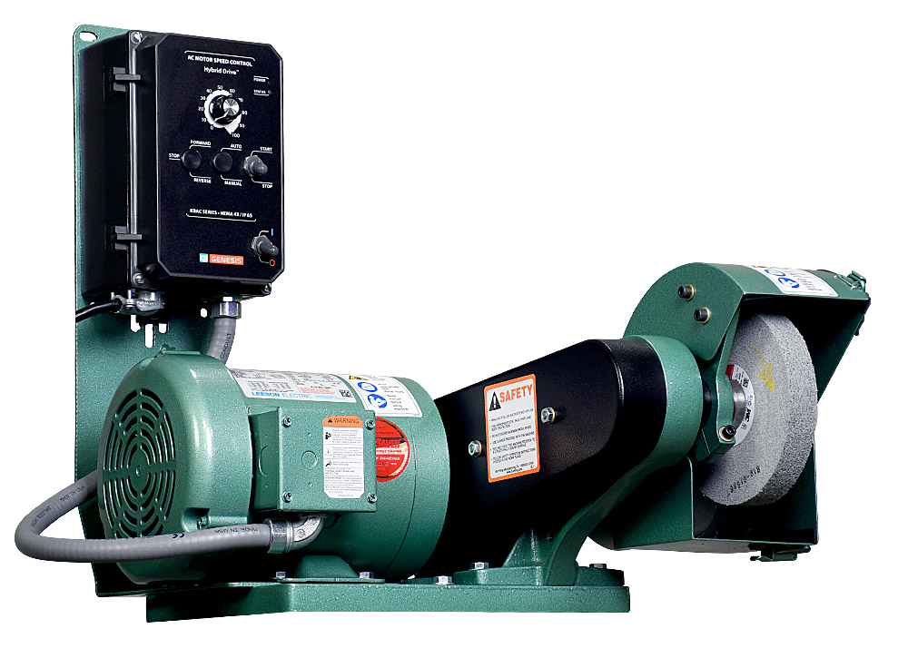 60110 Model 600 variable speed polishing lathe / buffer shown with optional DS6 dust scoop.