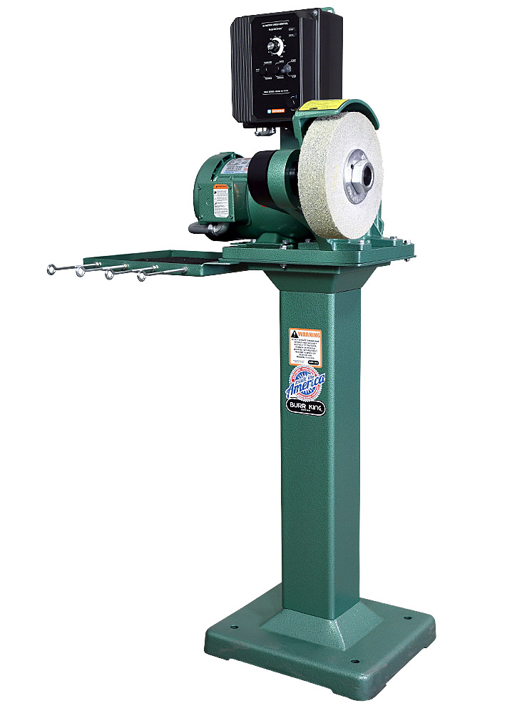 81210 model 800 polishing lathe / buffer / deburring machine with deburring wheel on 01 pedestal with the 760T-2 tool tray