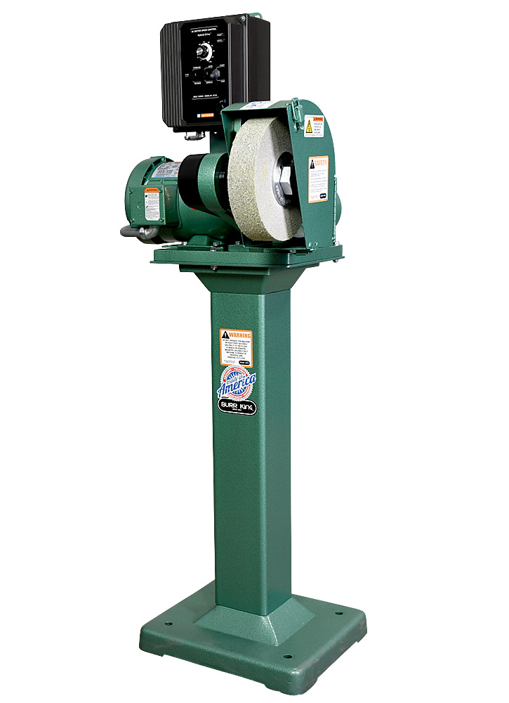 81210 model 800 polishing lathe / buffer / deburring machine with deburring wheel, DS8 dust scoop, and 01 pedestal
