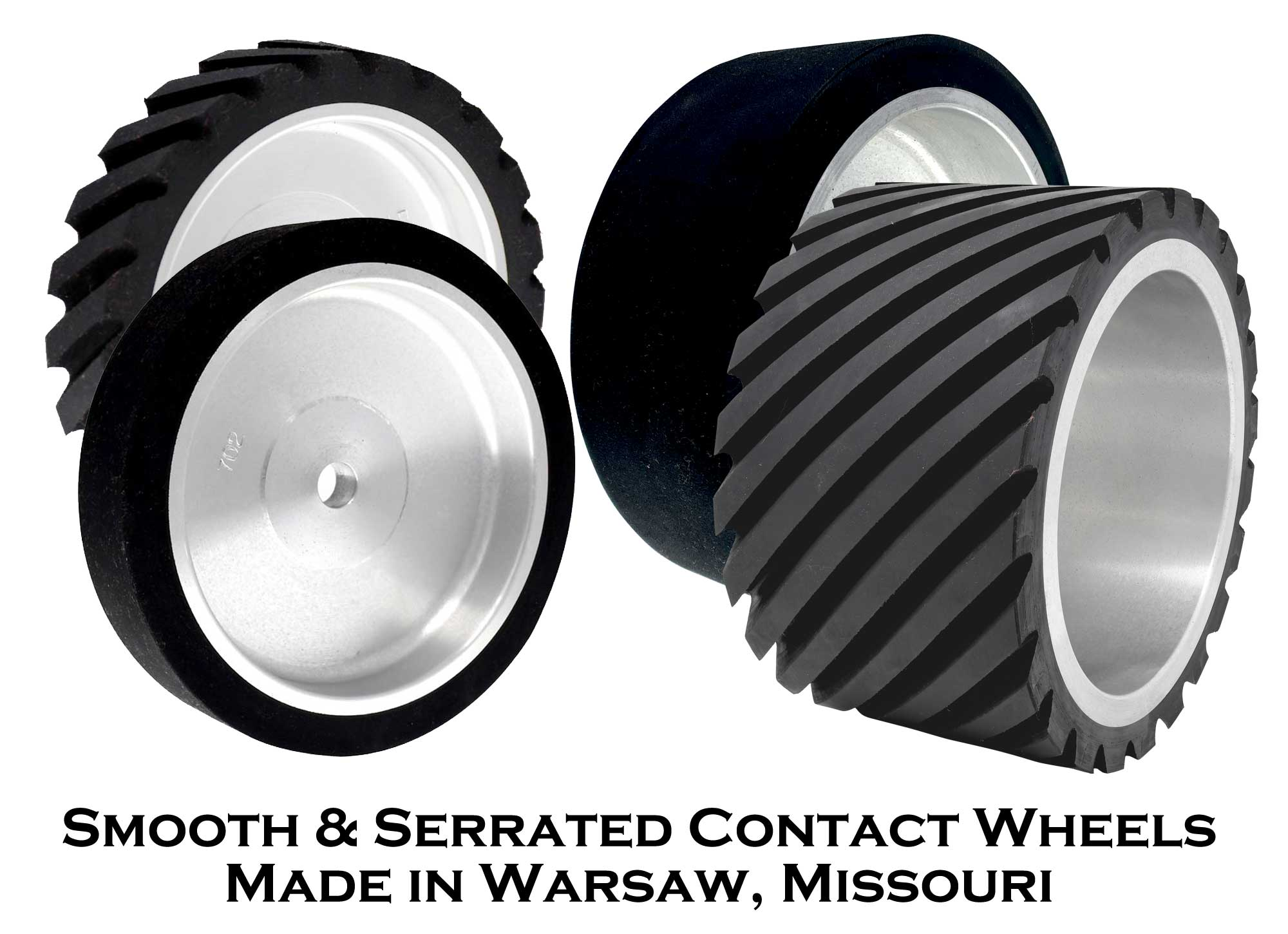 Smooth and Serrated Contact Wheels - 55 & 90 Duro Neoprene Rubber